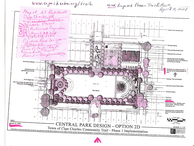 Plans for the trail, provided by Land Studio, with sticky note to label it 'Map for 23 Park Row, Cape Charles, VA'