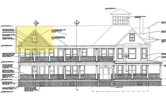 1 Mason Ave. The gable highlighted in yellow will be removed from the design (Patina Group Image)