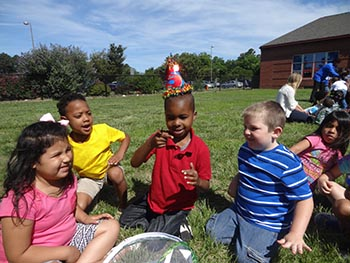 Kiptopeke Elementary School Preschoolers Learn Greet Newly Hatched Butterfly (NCEF Photo)