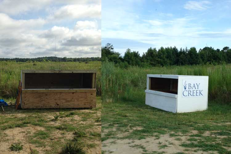Before and After of storage box at Bay Creek Beach (Mirror Photo)